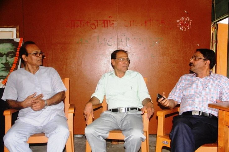 Eminent theatre personality Dr Sitanath Lahkar, SAMAHAR President Lalit Sarma and noted singer-lyricist Loknath Goswami during the discussion on Rabha's ideology