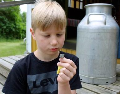 Joona Holopainenkin halusi tuoda jotain arvioitavaksi, kun hän tuli Päivilään tätinsä Merja Holopaisen kanssa. Tädin hyllystä löytynyt pieni hopeinen kuutio olikin arvoitus.