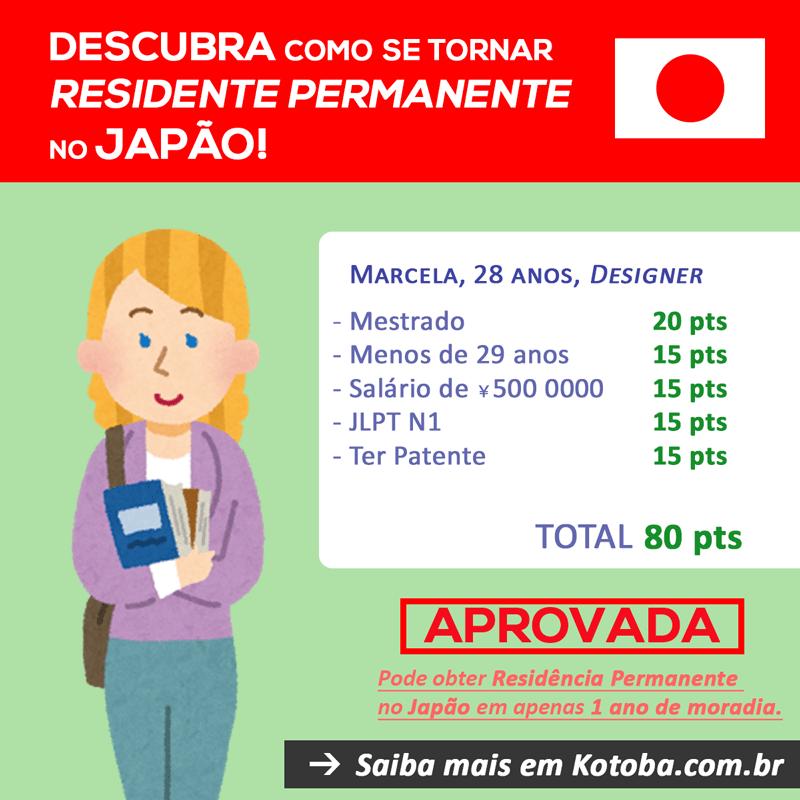 Exemplo de residencia pemanente no japão por pontuação