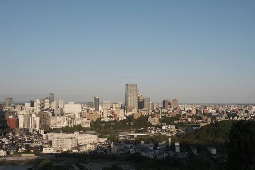 仙台城址公園から見た仙台市内の風景