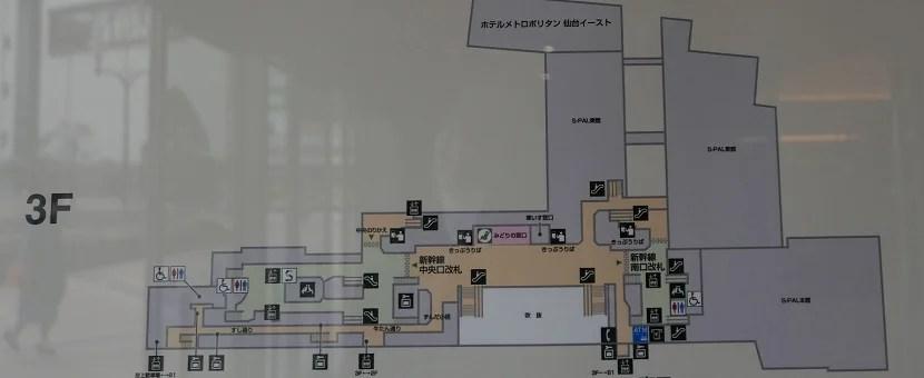 仙台駅の3階の構内図の写真