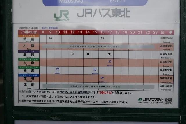 仙台駅東口73番乗り場の時刻表の写真