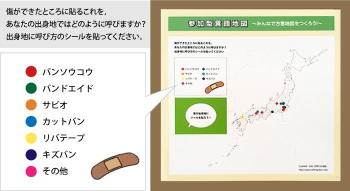 絆創膏の呼び名を問う言語地図展示。10枚程度シールが貼ってあります