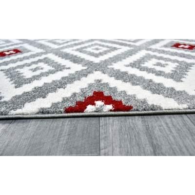 forsa losange tapis de salon scandinave en polypropylene 120 x 160 cm rouge