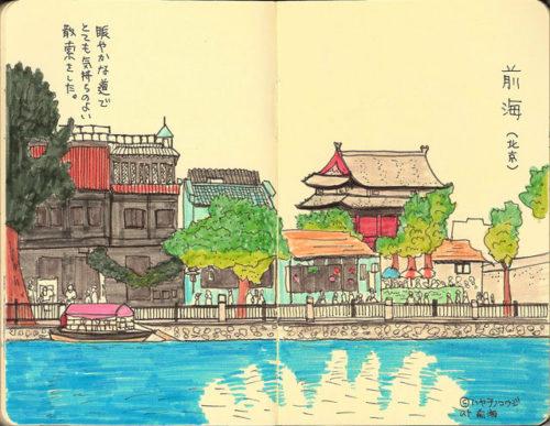 2010年の北京滞在の印象的なシーンをスケッチした作品。細かい線以外はスタビロPen68で描いている。