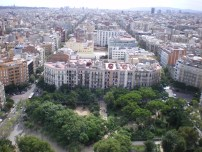 Characteristic example of the octagonal blocks in Eixample district, as viewed from the top of Sagrada Família. Best city planning I've ever seen!