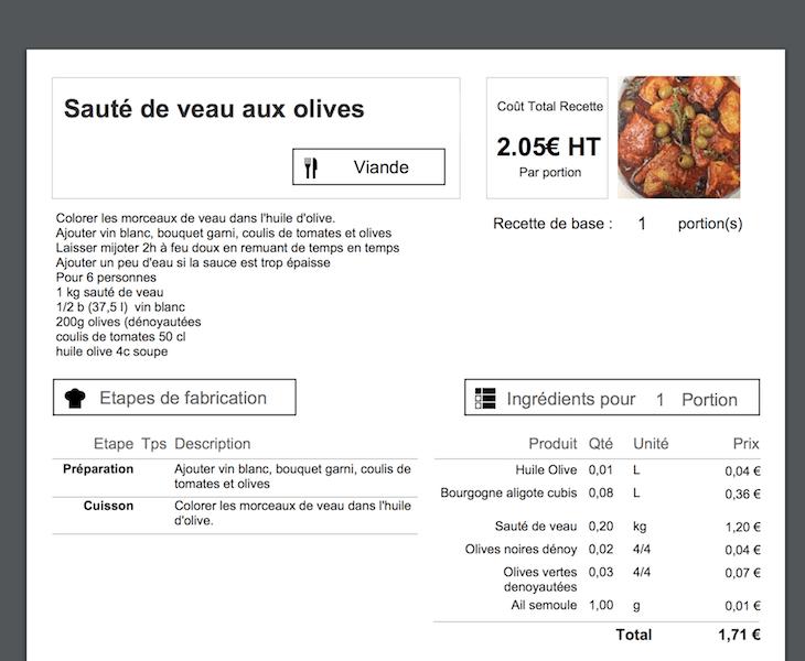 Calcul prix revient recette cuisine