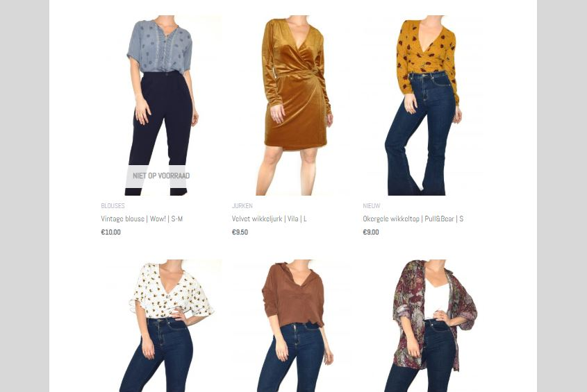 Schreenshot van webshop de Kleretoko met diverse tweedehands kledingstukken.