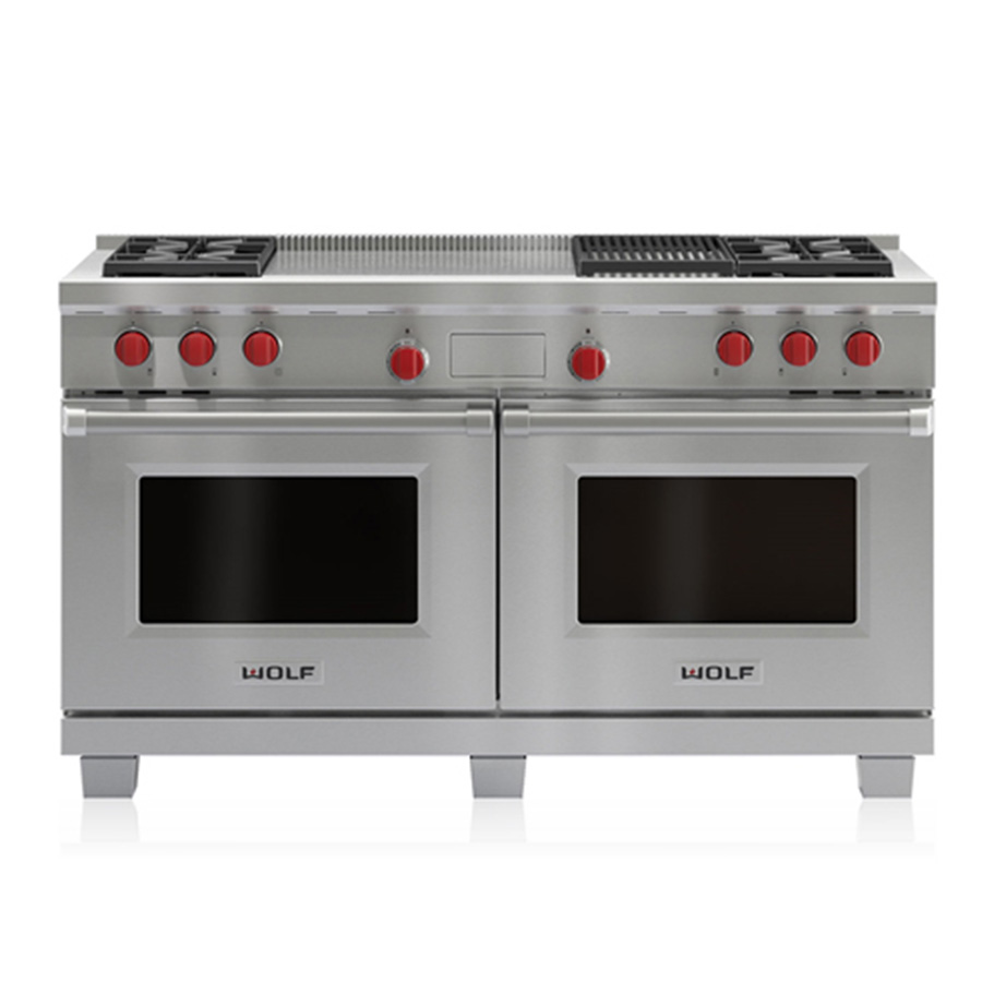 Cucina A Gas Wolf Dual Fuel Range 4 Burners Infrared Charbroiler And French Top W