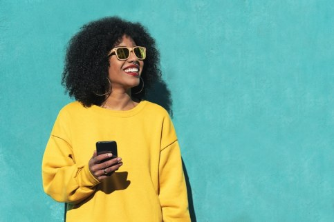 black woman with cell phone