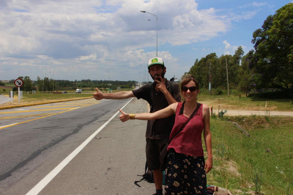 Au bord de la ruta 1, entre Colonia et Montevideo, en Uruguay