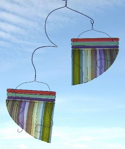 Fused Glass and Stainless Steel Mobile