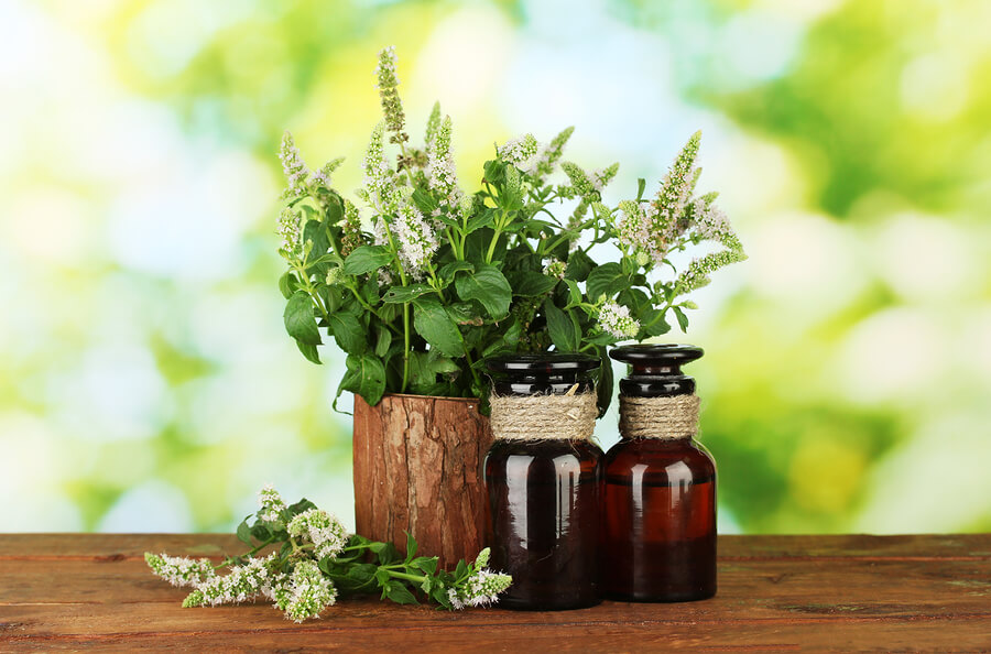 bigstock-Essential-oil-and-mint-on-gree-35860460