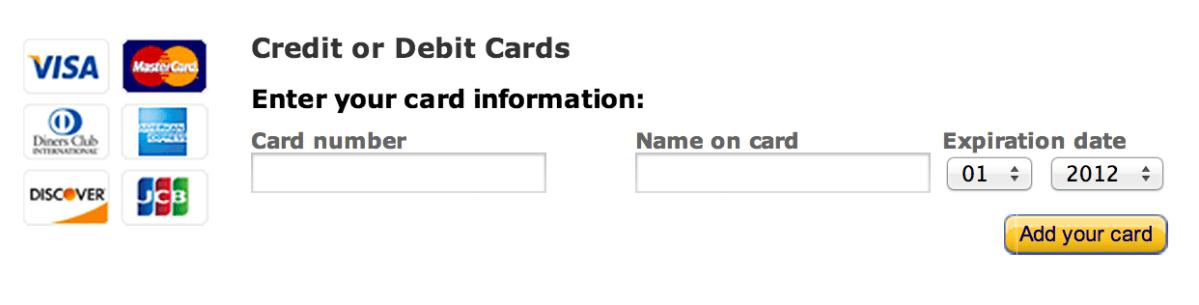 Amazon - add new card form