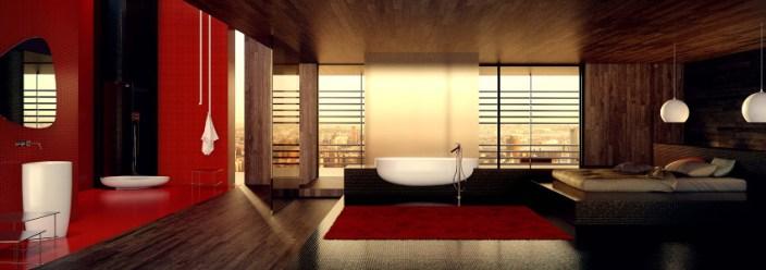 Danelon-Meroni-Red-white-and-black-oriental-inspired-bathroom-panorama
