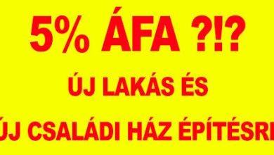 Photo of 27%-ról 5%-ra csökkenti a kormány az új építésű lakások és házak ÁFA összegét