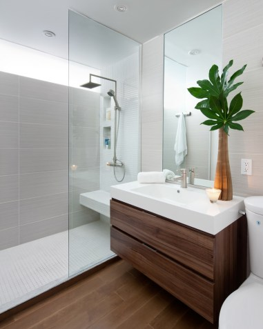 Contemporary-walk-in-shower-with-bench-and-small-niche
