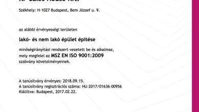 """Photo of Kp Sales House Kft """"ISO 9001"""" minősítést szerzett családi ház építés területen"""