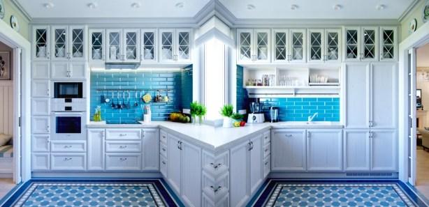 Blue-kitchen-backsplash