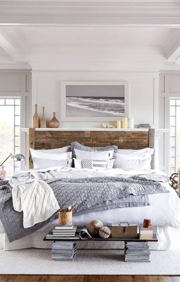 Rustic-white-beach-bedroom-wood-headboard