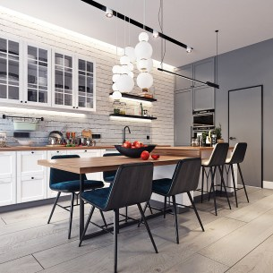 Small-Eat-In-Kitchen-With-White-Brick-Backsplash-White-Cabinets-And-Wooden-Coutertops
