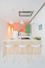 Coral-pink-green-kitchen-decor