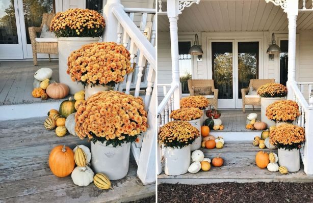 Flower-pots-on-the-porch-for-fall