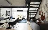 Brazil-Industrial-loft-by-Diego-Revollo-Arquitetura-oval-dining-table