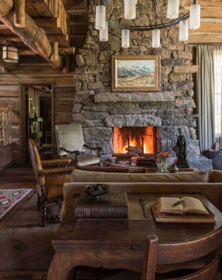 Rustic-mountain-residence-in-in-Teton-Valley-Wyoming-stone-fireplace