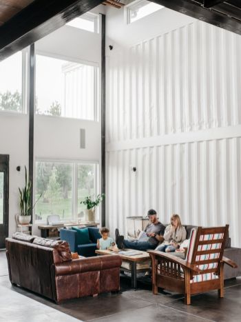 Shipping-Container-Home-living-room-high-ceilings