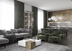Contemporary-Living-Room-With-Dark-Green-Curtains-White-Coffee-Table-Grey-Couch