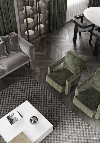 Dark-Brown-Herringbone-Wood-Floor-With-Grey-Checkered-Rug-And-Moss-Green-Accent-Chairs