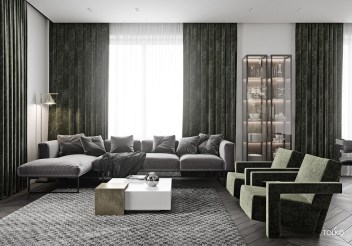 Large-Grey-Sectional-Couch-In-Modern-Living-Room-With-Oversized-Windows-And-Green-Chairs
