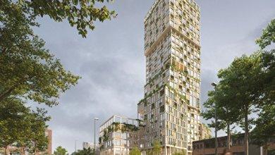 Photo of 98 méter magas, 29 emeletes toronyház épül fa szerkezetből