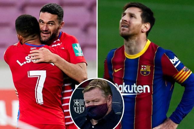 In Spanish Laliga, Barcelona Coach Koeman was  Sent Off In Barca's Shock Defeat To Granada.