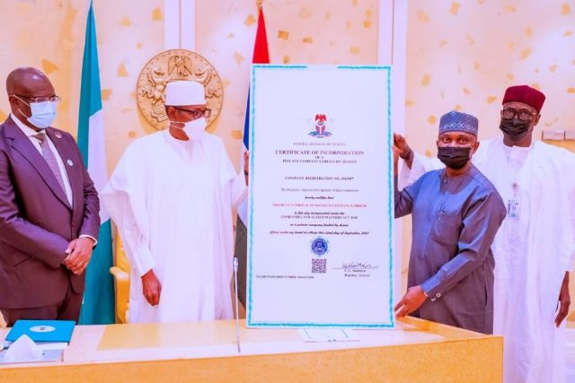 President Buhari Receives Certificate of Incorporation of NNPC Limited