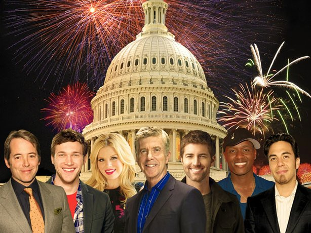 """Celebrate America's Independence Day with """"A Capitol Fourth,"""" the nation's premier birthday party and a gala salute to our country's independence starring (L to R): Matthew Broderick, Phillip Phillips, Megan Hilty, Tom Bergeron, Josh Turner, Javier Colon and Apolo Anton Ohno."""