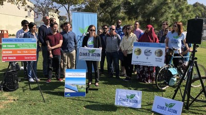 Climate Action Campaign supporters gathered at Park De La Cruz Tuesday to dis...