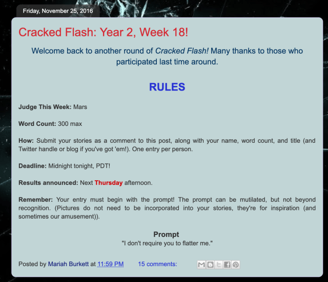 The rules for Cracked Flash Fiction Competition with prompt