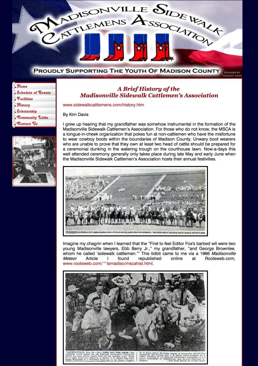 Kim Davis wrote this history of the Madisonville Sidewalk Cattlemen's Association