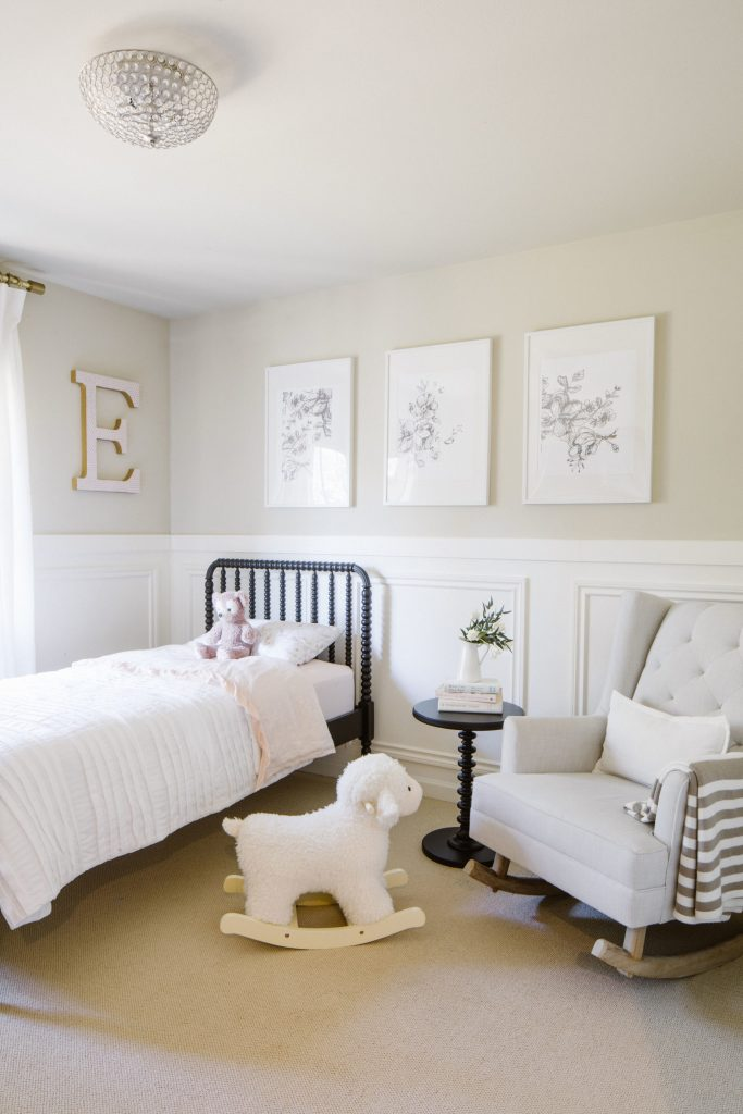 Toddler Girl Room painted in simply white on the lower wal