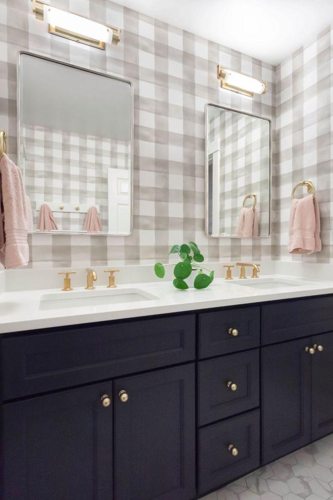 plaid and navy bathroom design