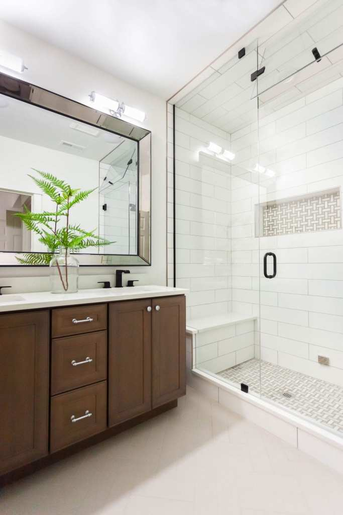Modern guest bathroom from my English Hill East project by K. Peterson Design in Redmond, WA