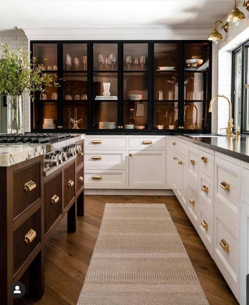 kitchen with black steel and reeded cabinets
