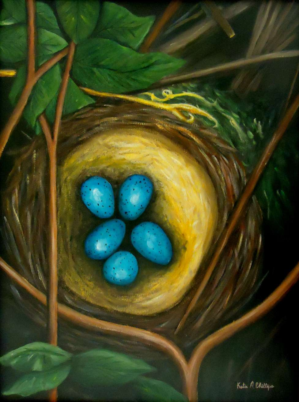 Bird painting of nest or robin nest painting Revival in the Thrush