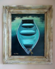 """""""Blue Boat"""" in vintage frame"""