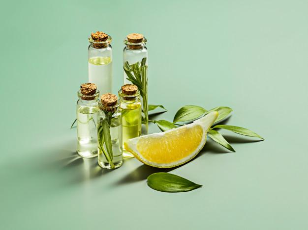 bottles of oil and lemon