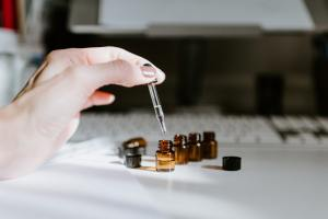 Measuring Essential Oils at a desk