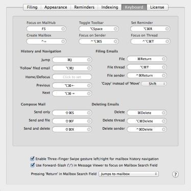 keyboard setting MailHub