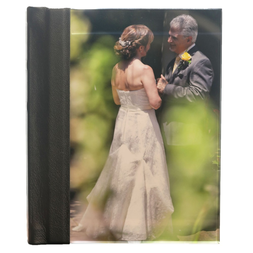 8×10 Album with acrylic photo cover, black leatherette on spine and back cover